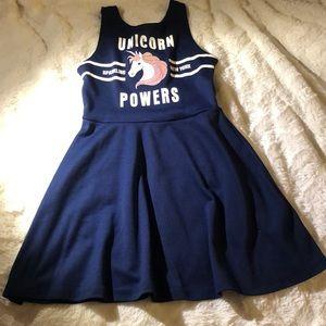 H&M unicorn dress girls 8/10 navy blue